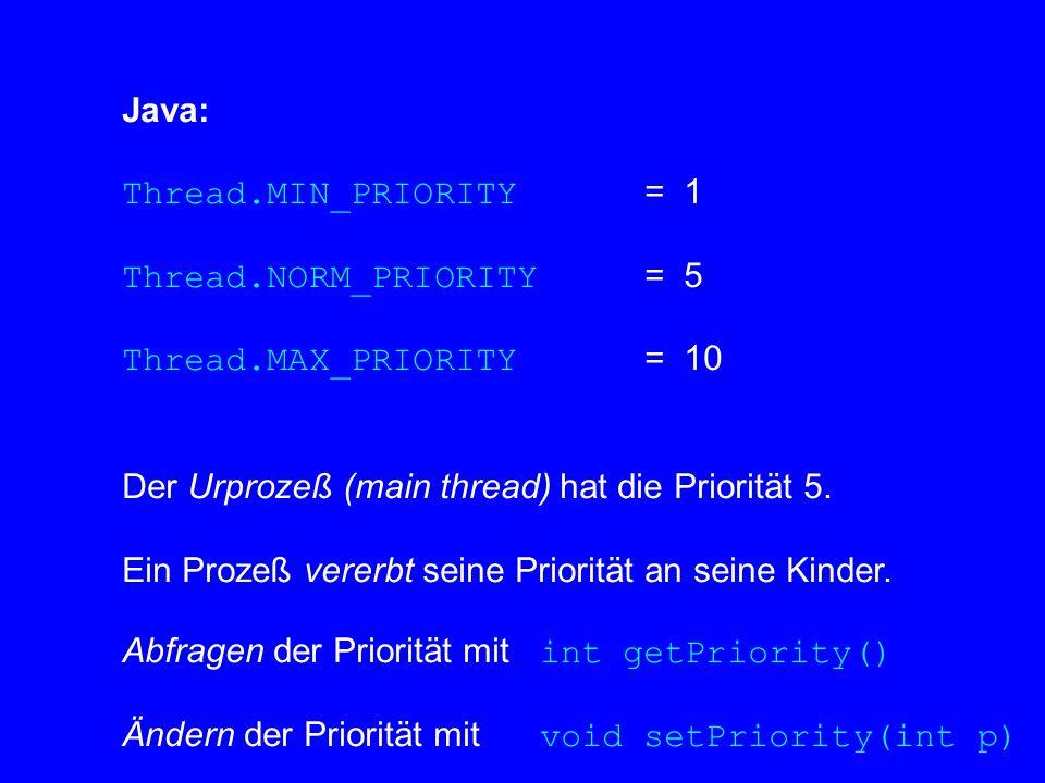 Die JVM kann bei der Zuteilung von Prozessorkapazität an die Threads die Prioritäten berücksichtigen, muß aber nicht.