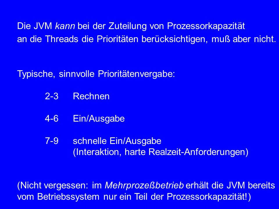 public void V() { // this is the modified V mutex.P(); count++; if(count<=0) { Sema ready = prios.rem(); ready.V(); } mutex.V(); } Beachte: 1.Die Semaphore ready sind private Semaphore, d.h.