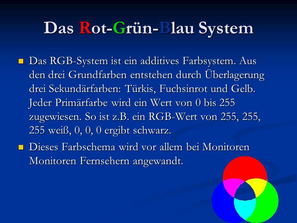 Das Rot-Grün-Blau System Das RGB-System ist ein additives Farbsystem. Aus den drei Grundfarben entstehen durch Überlagerung drei Sekundärfarben: Türki
