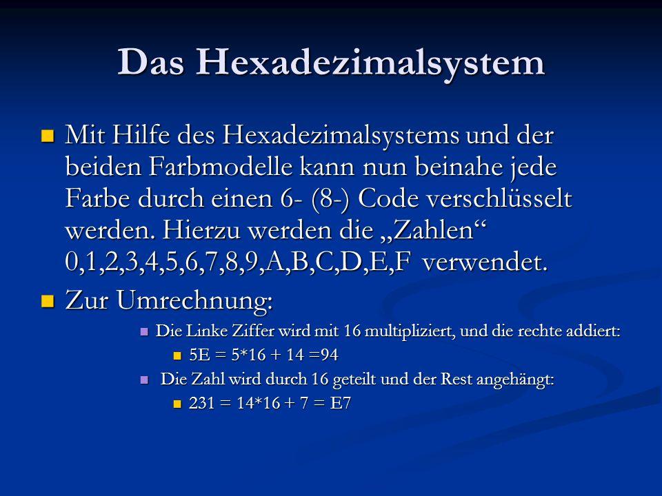 Das Hexadezimalsystem Mit Hilfe des Hexadezimalsystems und der beiden Farbmodelle kann nun beinahe jede Farbe durch einen 6- (8-) Code verschlüsselt w