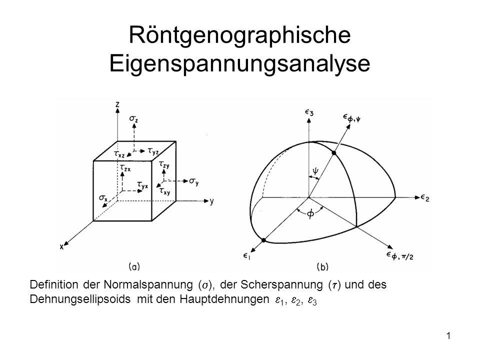 1 Röntgenographische Eigenspannungsanalyse Definition der Normalspannung (  ), der Scherspannung (  ) und des Dehnungsellipsoids mit den Hauptdehnun