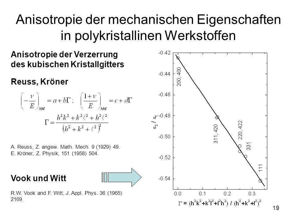 19 Anisotropie der mechanischen Eigenschaften in polykristallinen Werkstoffen Anisotropie der Verzerrung des kubischen Kristallgitters Reuss, Kröner A