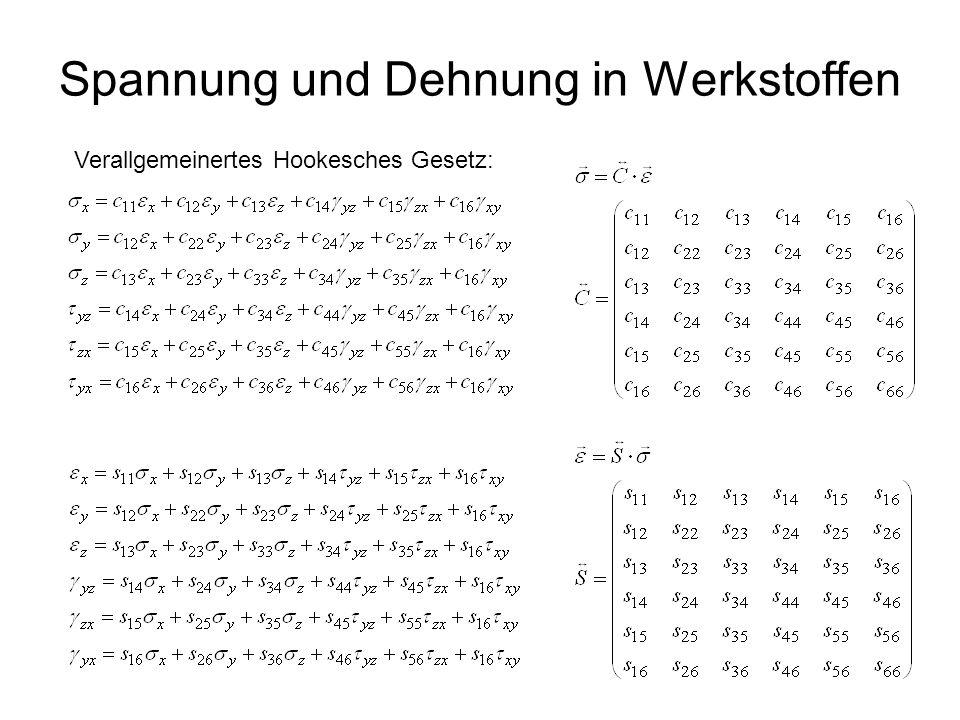 3 Spannung und Dehnung in Werkstoffen Verallgemeinertes Hookesches Gesetz: