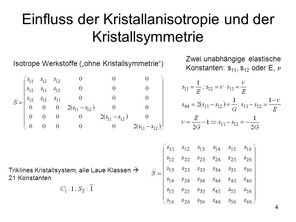 """4 Einfluss der Kristallanisotropie und der Kristallsymmetrie Zwei unabhängige elastische Konstanten: s 11, s 12 oder E, Isotrope Werkstoffe (""""ohne Kri"""