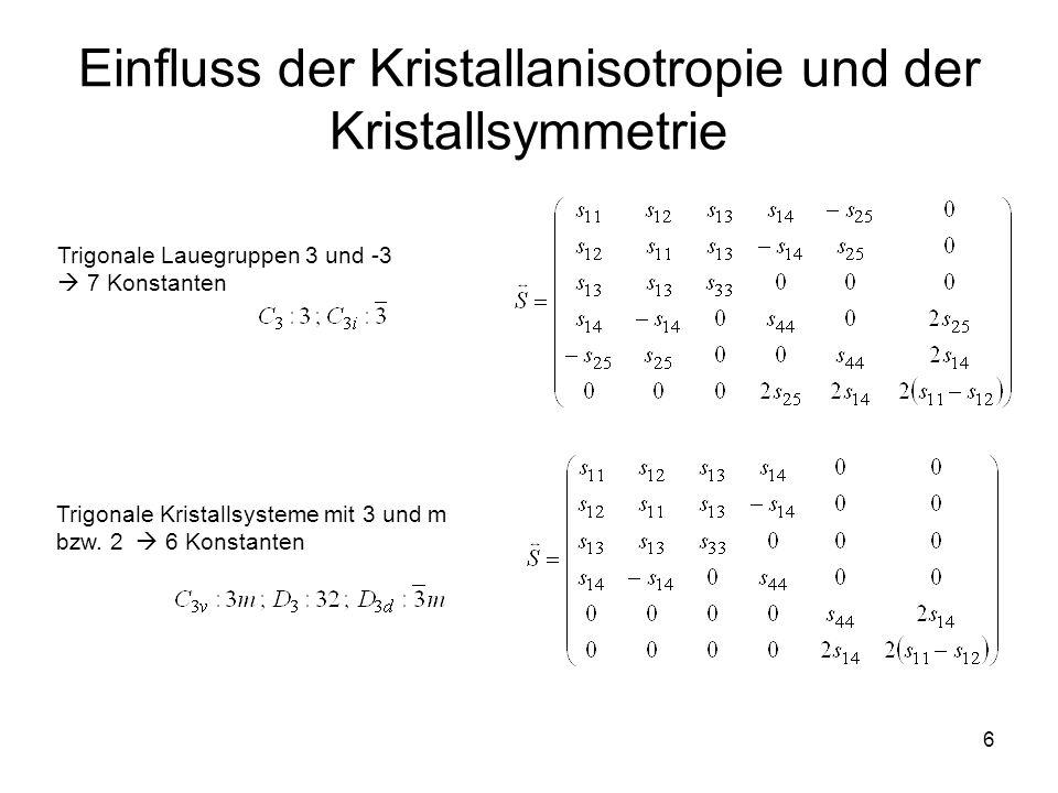 6 Einfluss der Kristallanisotropie und der Kristallsymmetrie Trigonale Lauegruppen 3 und -3  7 Konstanten Trigonale Kristallsysteme mit 3 und m bzw.