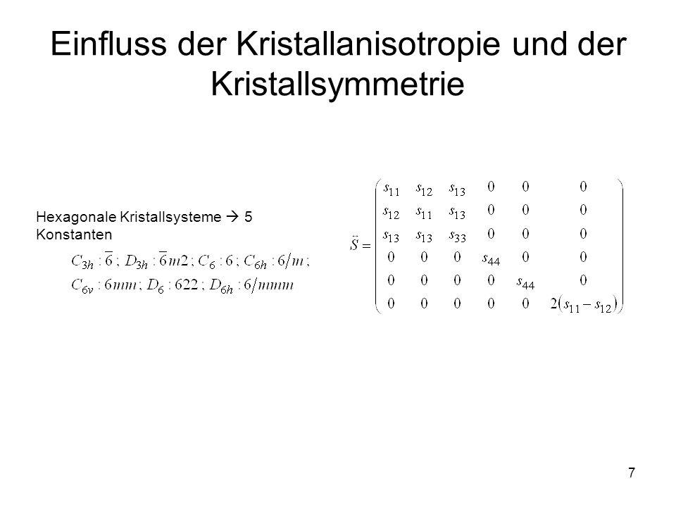 7 Einfluss der Kristallanisotropie und der Kristallsymmetrie Hexagonale Kristallsysteme  5 Konstanten