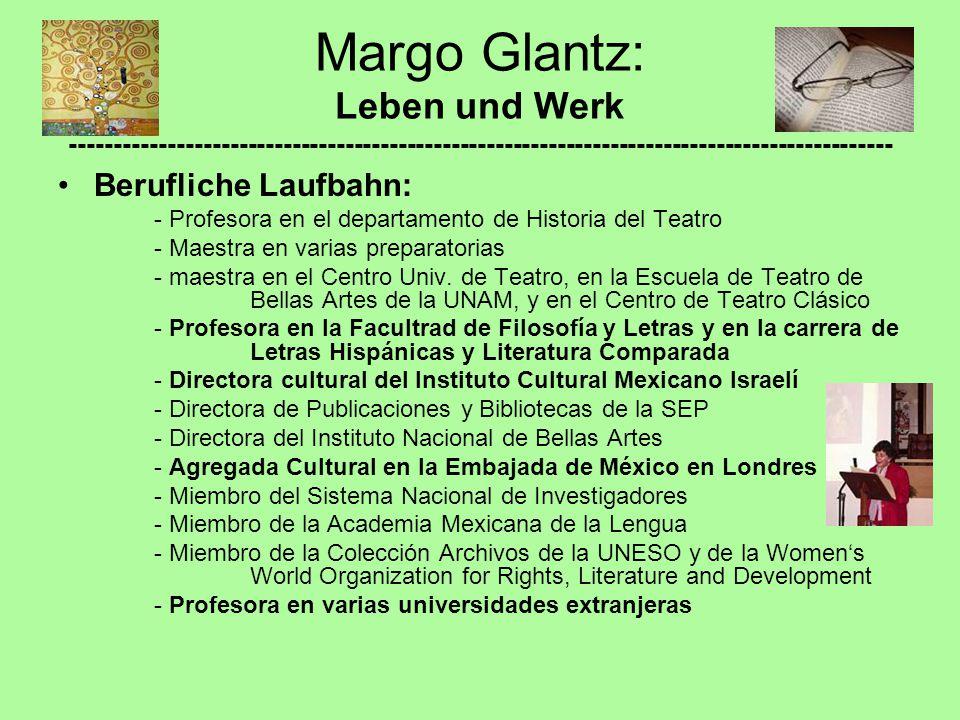 Berufliche Laufbahn: - Profesora en el departamento de Historia del Teatro - Maestra en varias preparatorias - maestra en el Centro Univ. de Teatro, e