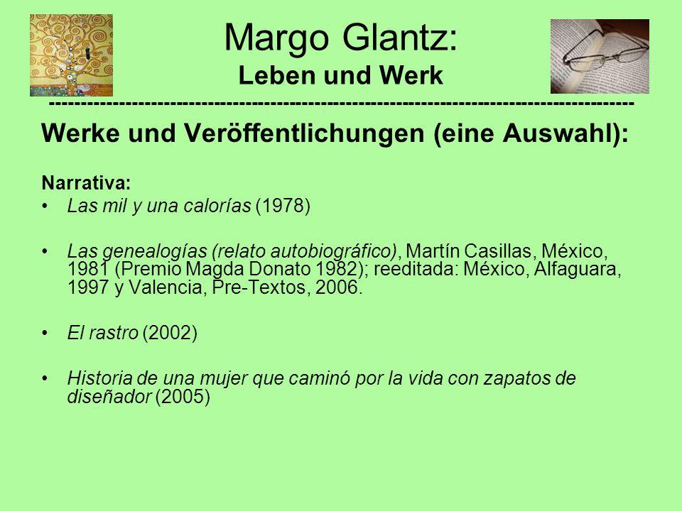 Werke und Veröffentlichungen (eine Auswahl): Narrativa: Las mil y una calorías (1978) Las genealogías (relato autobiográfico), Martín Casillas, México