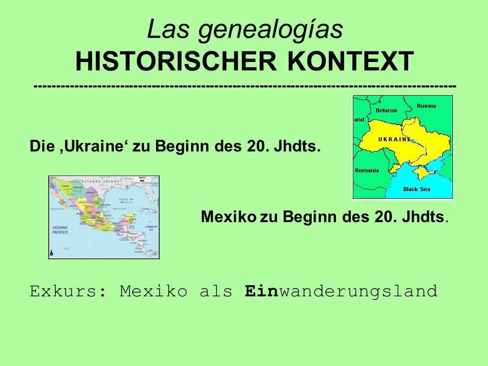 Las genealogías HISTORISCHER KONTEXT ---------------------------------------------------------------------------------------------- Die 'Ukraine' zu Beginn des 20.