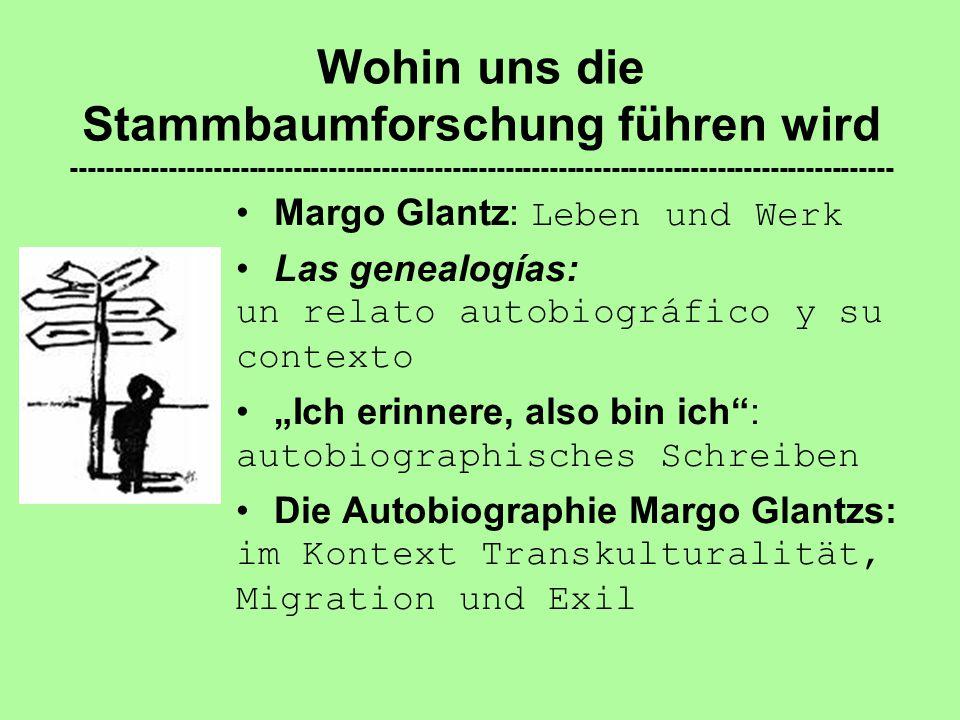 Autobiographisches Schreiben ------------------------------------------------------------------------------- Las genealogías als Sprachkunstwerk: (Selbst-)Ironie Wortspiele 'Wiederholung' auf mehreren Ebenen Die Küche als Rahmen Selbstreferenz (Literatur als…) …
