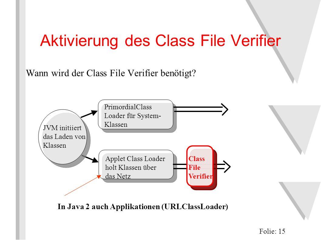Aktivierung des Class File Verifier Wann wird der Class File Verifier benötigt.