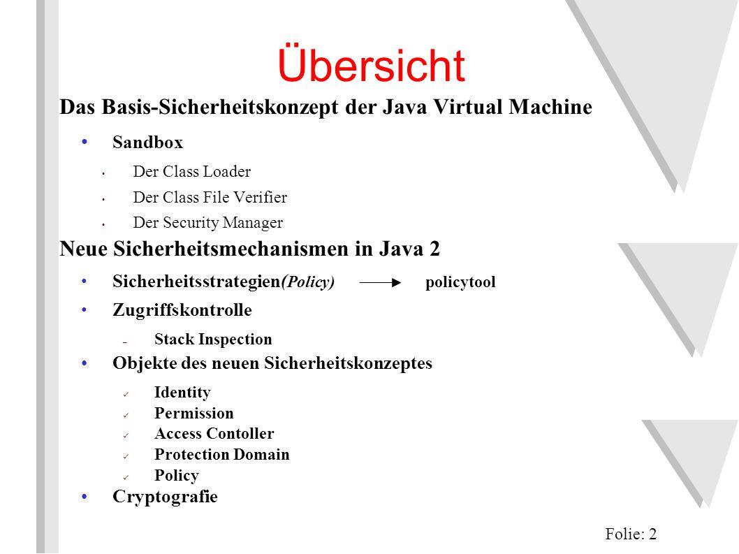 Der Class File Verifier...prüft, ob das Programm nach den Regeln der JVM läuft das bedeutet nicht unbedingt, dass das Programm die Regeln von Java als Sprache befolgt Folie: 13 JVM Bytecode Regeln Class File Verifier Internet Class Class Loader