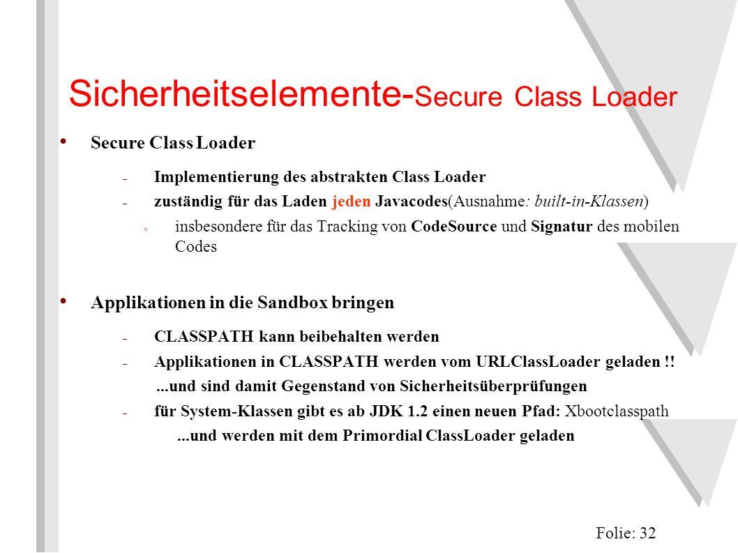 Sicherheitselemente- Secure Class Loader Folie: 32 Secure Class Loader – Implementierung des abstrakten Class Loader – zuständig für das Laden jeden Javacodes(Ausnahme: built-in-Klassen) » insbesondere für das Tracking von CodeSource und Signatur des mobilen Codes Applikationen in die Sandbox bringen – CLASSPATH kann beibehalten werden – Applikationen in CLASSPATH werden vom URLClassLoader geladen !!...und sind damit Gegenstand von Sicherheitsüberprüfungen – für System-Klassen gibt es ab JDK 1.2 einen neuen Pfad: Xbootclasspath...und werden mit dem Primordial ClassLoader geladen