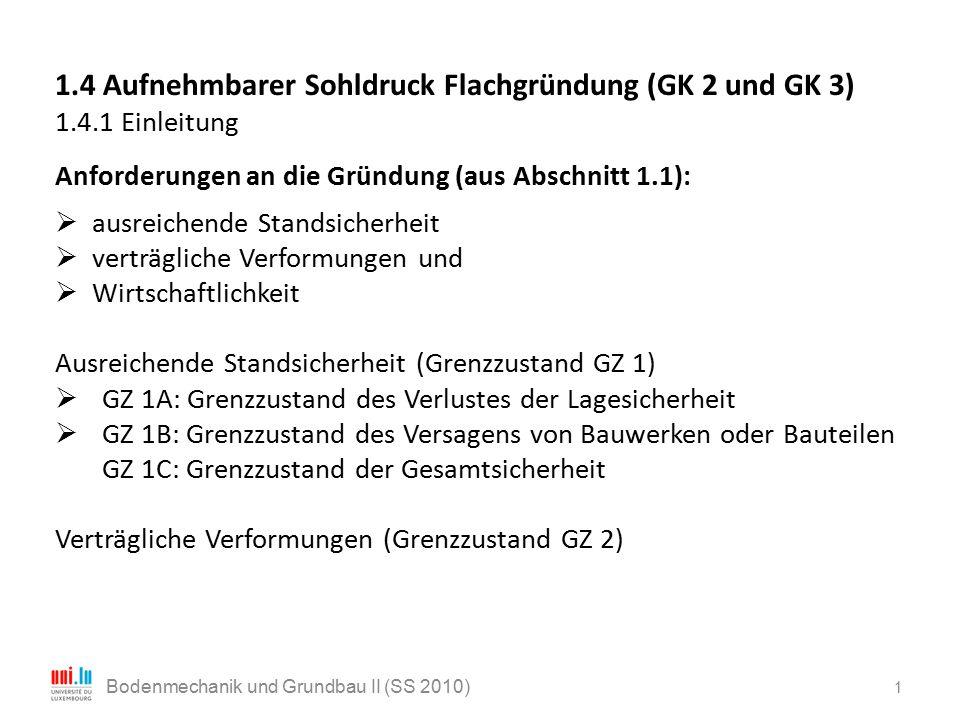 22 Bodenmechanik und Grundbau II (SS 2010) Formbeiwerte : erste Grundbruchgleichungen für ebenen Verformungszustand, also Streifenfundamente (ν b = ν d = ν c = 1).
