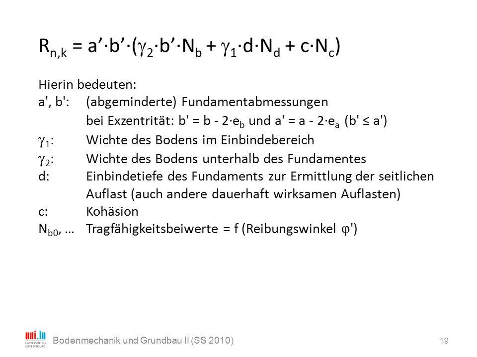 19 Bodenmechanik und Grundbau II (SS 2010) R n,k = a'·b'·(  2 ·b'·N b +  1 ·d·N d + c·N c ) Hierin bedeuten: a', b':(abgeminderte) Fundamentabmessun