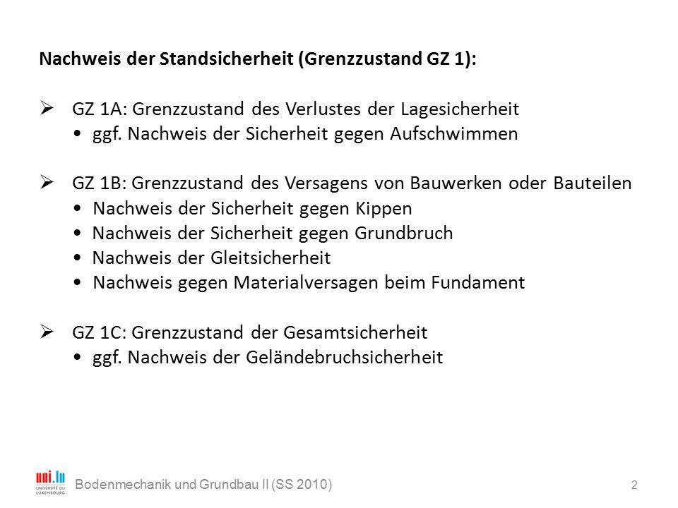 2 Bodenmechanik und Grundbau II (SS 2010) Nachweis der Standsicherheit (Grenzzustand GZ 1):  GZ 1A: Grenzzustand des Verlustes der Lagesicherheit ggf