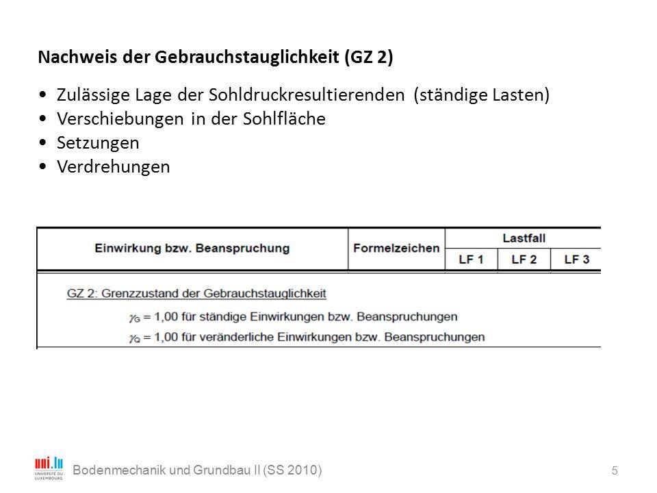 5 Nachweis der Gebrauchstauglichkeit (GZ 2) Zulässige Lage der Sohldruckresultierenden (ständige Lasten) Verschiebungen in der Sohlfläche Setzungen Ve