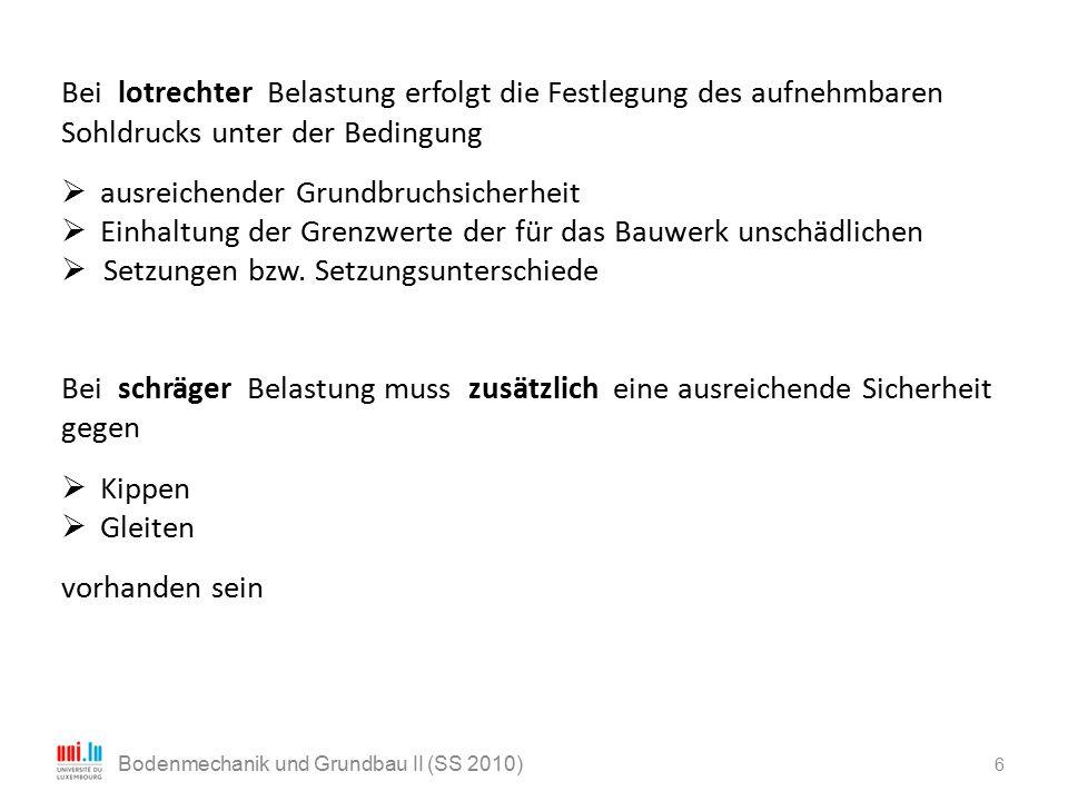 6 Bodenmechanik und Grundbau II (SS 2010) Bei lotrechter Belastung erfolgt die Festlegung des aufnehmbaren Sohldrucks unter der Bedingung  ausreichen