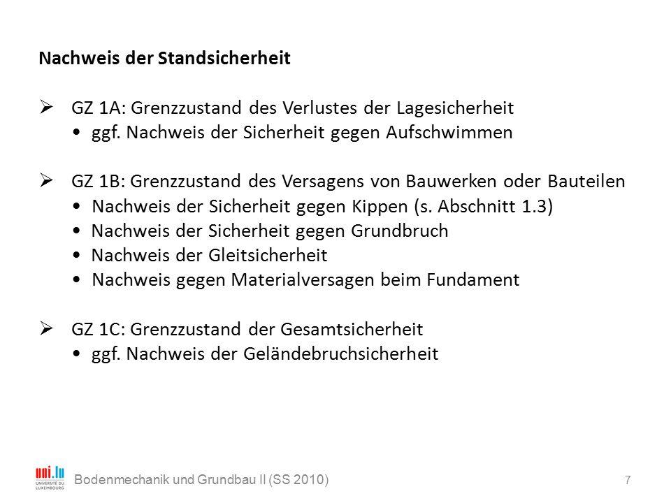 7 Bodenmechanik und Grundbau II (SS 2010) Nachweis der Standsicherheit  GZ 1A: Grenzzustand des Verlustes der Lagesicherheit ggf. Nachweis der Sicher