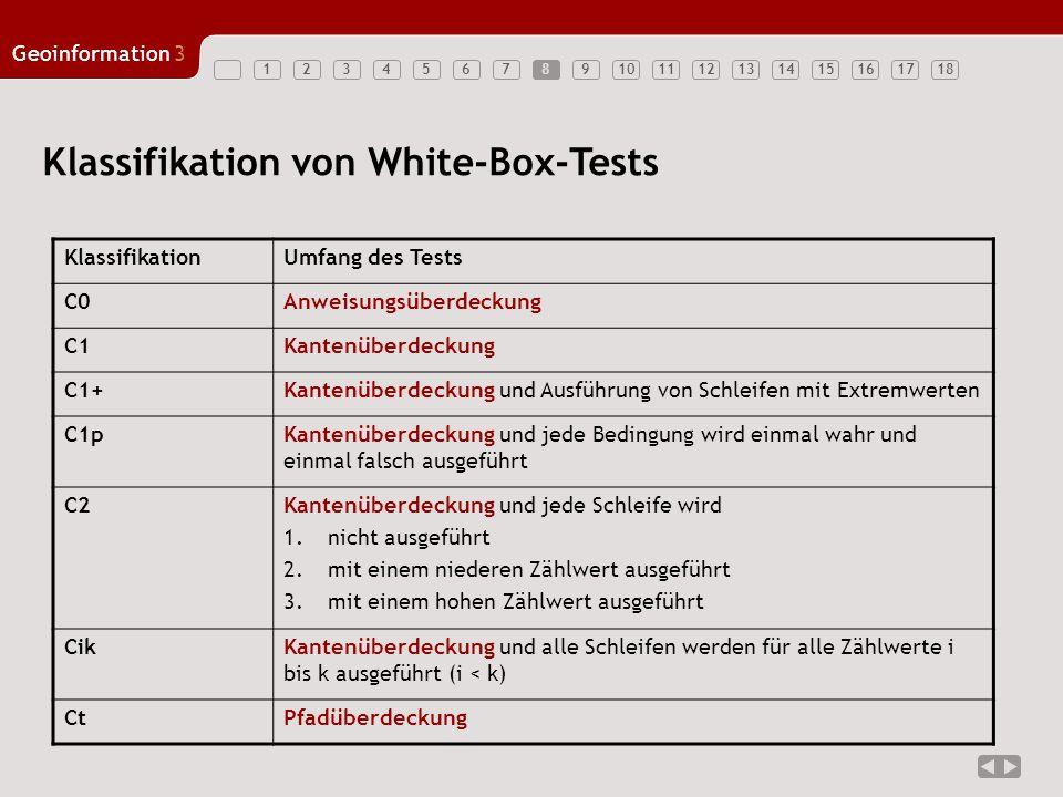 123456789101112131415161718 Geoinformation3 8 Klassifikation von White-Box-Tests KlassifikationUmfang des Tests C0Anweisungsüberdeckung C1Kantenüberdeckung C1+Kantenüberdeckung und Ausführung von Schleifen mit Extremwerten C1pKantenüberdeckung und jede Bedingung wird einmal wahr und einmal falsch ausgeführt C2Kantenüberdeckung und jede Schleife wird 1.nicht ausgeführt 2.mit einem niederen Zählwert ausgeführt 3.mit einem hohen Zählwert ausgeführt CikKantenüberdeckung und alle Schleifen werden für alle Zählwerte i bis k ausgeführt (i < k) CtPfadüberdeckung