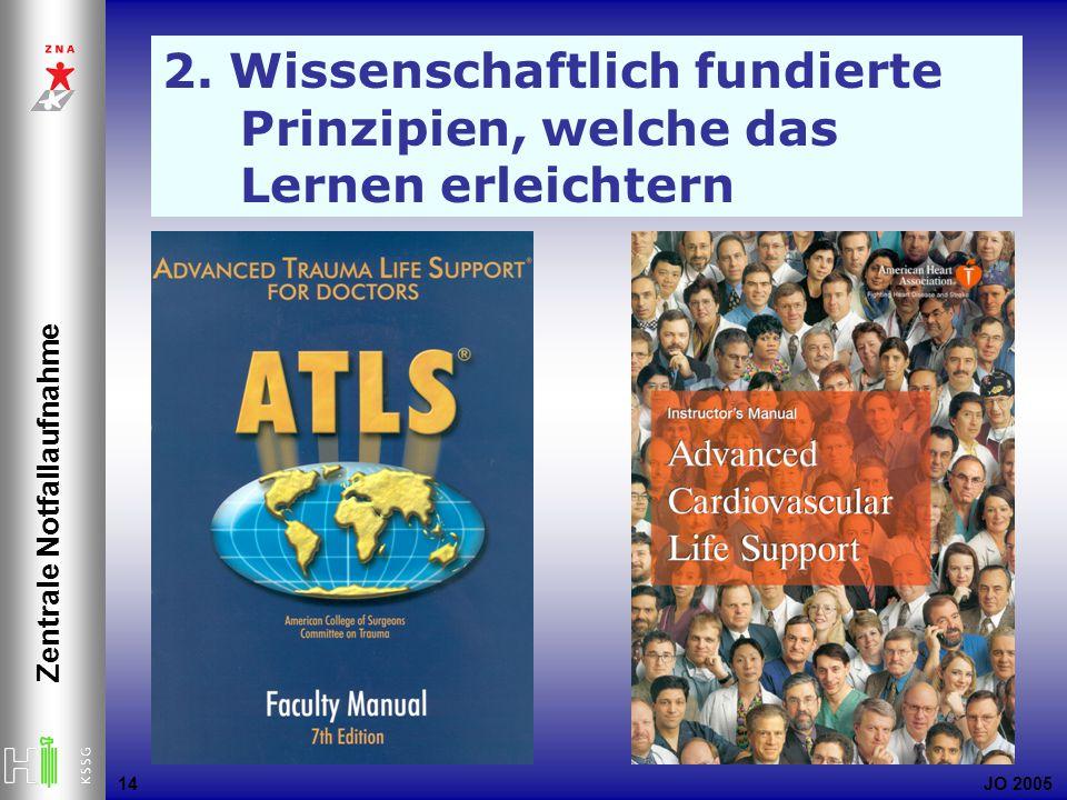 JO 2005 Zentrale Notfallaufnahme 14 2. Wissenschaftlich fundierte Prinzipien, welche das Lernen erleichtern