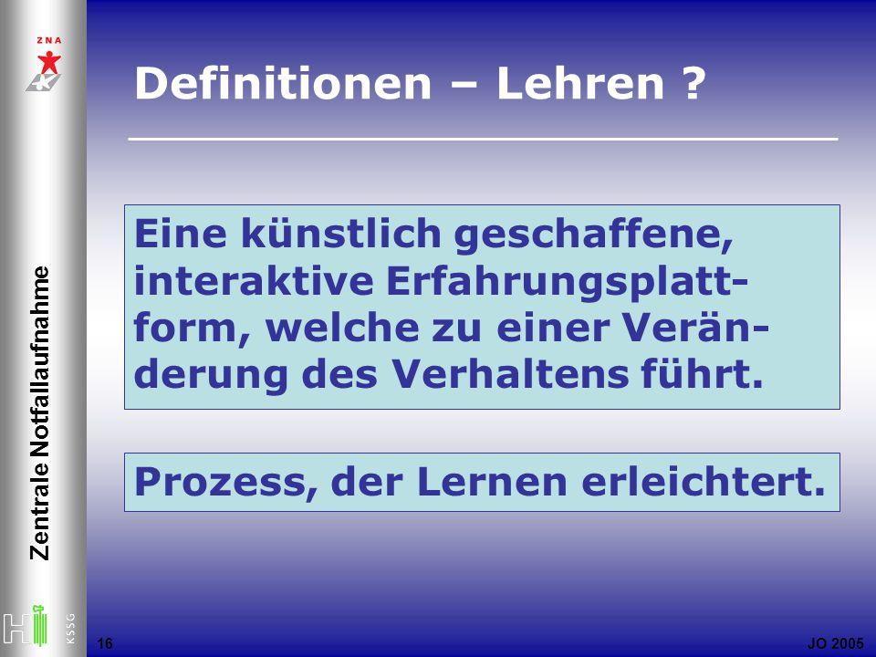 JO 2005 Zentrale Notfallaufnahme 16 Definitionen – Lehren ? Eine künstlich geschaffene, interaktive Erfahrungsplatt- form, welche zu einer Verän- deru