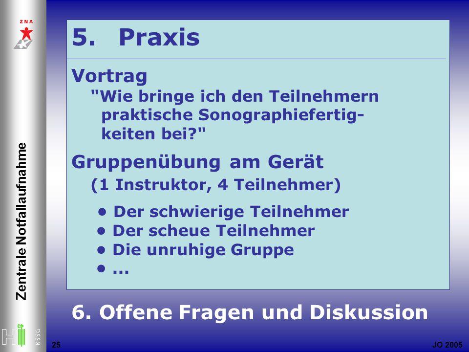 JO 2005 Zentrale Notfallaufnahme 25 5. Praxis Vortrag