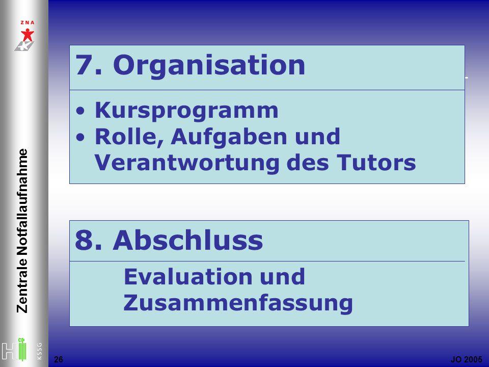 JO 2005 Zentrale Notfallaufnahme 26 7. Organisation Kursprogramm Rolle, Aufgaben und Verantwortung des Tutors 8. Abschluss Evaluation und Zusammenfass