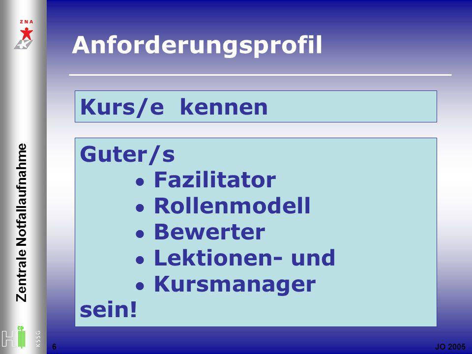 JO 2005 Zentrale Notfallaufnahme 6 Kurs/e kennen Guter/s Fazilitator Rollenmodell Bewerter Lektionen- und Kursmanager sein.