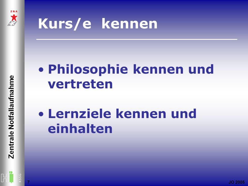 JO 2005 Zentrale Notfallaufnahme 7 Kurs/e kennen Philosophie kennen und vertreten Lernziele kennen und einhalten