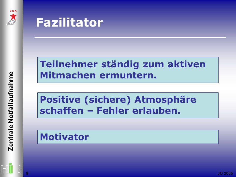 JO 2005 Zentrale Notfallaufnahme 8 Teilnehmer ständig zum aktiven Mitmachen ermuntern. Positive (sichere) Atmosphäre schaffen – Fehler erlauben. Motiv