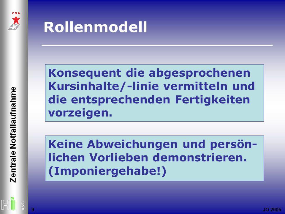 JO 2005 Zentrale Notfallaufnahme 9 Konsequent die abgesprochenen Kursinhalte/-linie vermitteln und die entsprechenden Fertigkeiten vorzeigen. Keine Ab