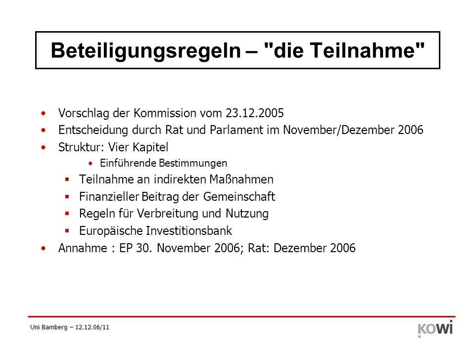 Uni Bamberg – 12.12.06/11 Beteiligungsregeln –