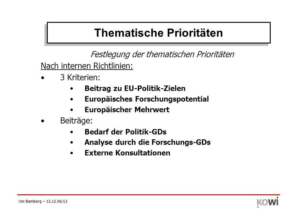 Uni Bamberg – 12.12.06/13 Festlegung der thematischen Prioritäten Nach internen Richtlinien: 3 Kriterien: Beitrag zu EU-Politik-Zielen Europäisches Fo