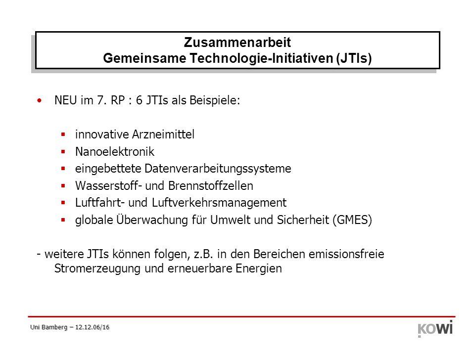 Uni Bamberg – 12.12.06/16 NEU im 7. RP : 6 JTIs als Beispiele:  innovative Arzneimittel  Nanoelektronik  eingebettete Datenverarbeitungssysteme  W