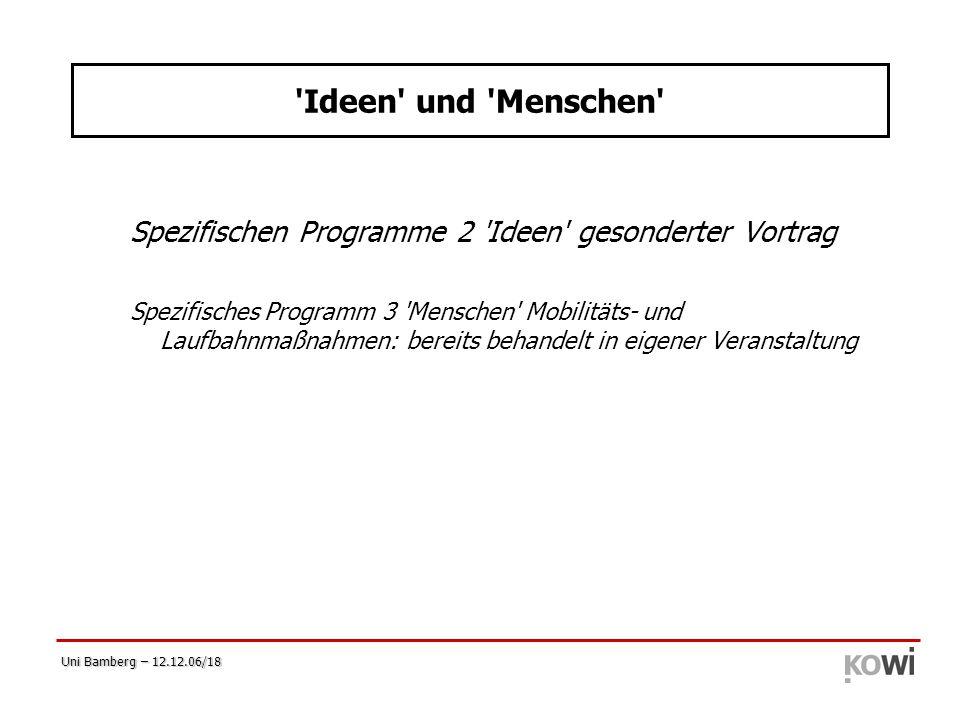 Uni Bamberg – 12.12.06/18 'Ideen' und 'Menschen' Spezifischen Programme 2 'Ideen' gesonderter Vortrag Spezifisches Programm 3 'Menschen' Mobilitäts- u
