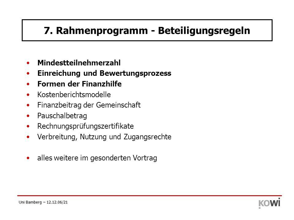 Uni Bamberg – 12.12.06/21 Mindestteilnehmerzahl Einreichung und Bewertungsprozess Formen der Finanzhilfe Kostenberichtsmodelle Finanzbeitrag der Gemei