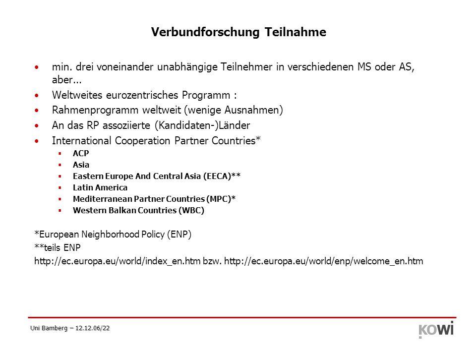 Uni Bamberg – 12.12.06/22 Verbundforschung Teilnahme min. drei voneinander unabhängige Teilnehmer in verschiedenen MS oder AS, aber... Weltweites euro
