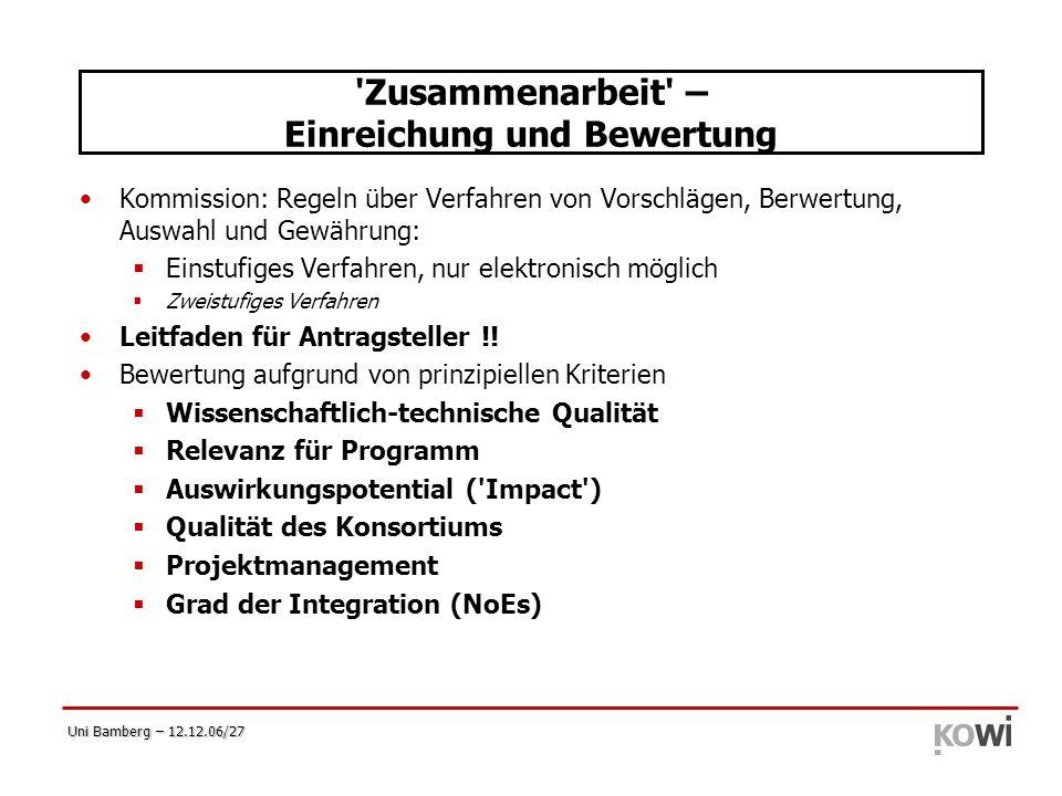 Uni Bamberg – 12.12.06/27 'Zusammenarbeit' – Einreichung und Bewertung Kommission: Regeln über Verfahren von Vorschlägen, Berwertung, Auswahl und Gewä