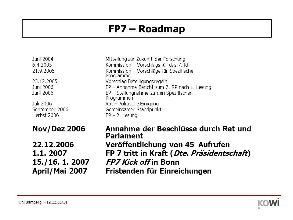Uni Bamberg – 12.12.06/31 FP7 – Roadmap Juni 2004Mitteilung zur Zukunft der Forschung 6.4.2005Kommission – Vorschlags für das 7. RP 21.9.2005Kommissio