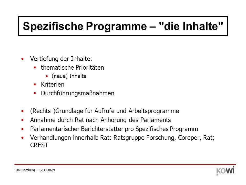 Uni Bamberg – 12.12.06/9 Spezifische Programme –