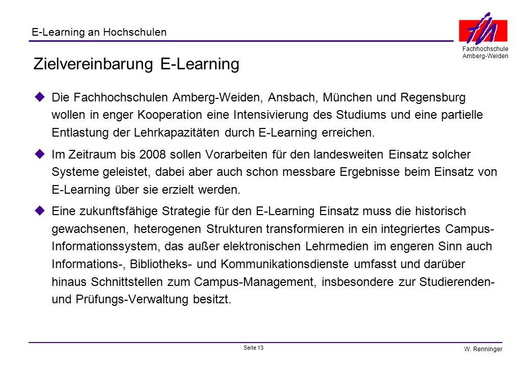 Seite 13 Fachhochschule Amberg-Weiden E-Learning an Hochschulen W. Renninger Zielvereinbarung E-Learning  Die Fachhochschulen Amberg-Weiden, Ansbach,