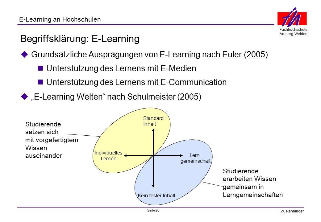 Seite 20 Fachhochschule Amberg-Weiden E-Learning an Hochschulen W. Renninger Begriffsklärung: E-Learning  Grundsätzliche Ausprägungen von E-Learning