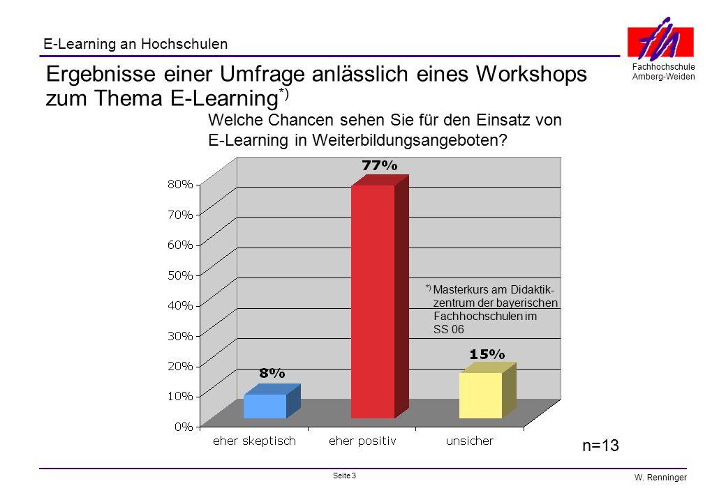 Seite 3 Fachhochschule Amberg-Weiden E-Learning an Hochschulen W. Renninger Ergebnisse einer Umfrage anlässlich eines Workshops zum Thema E-Learning *