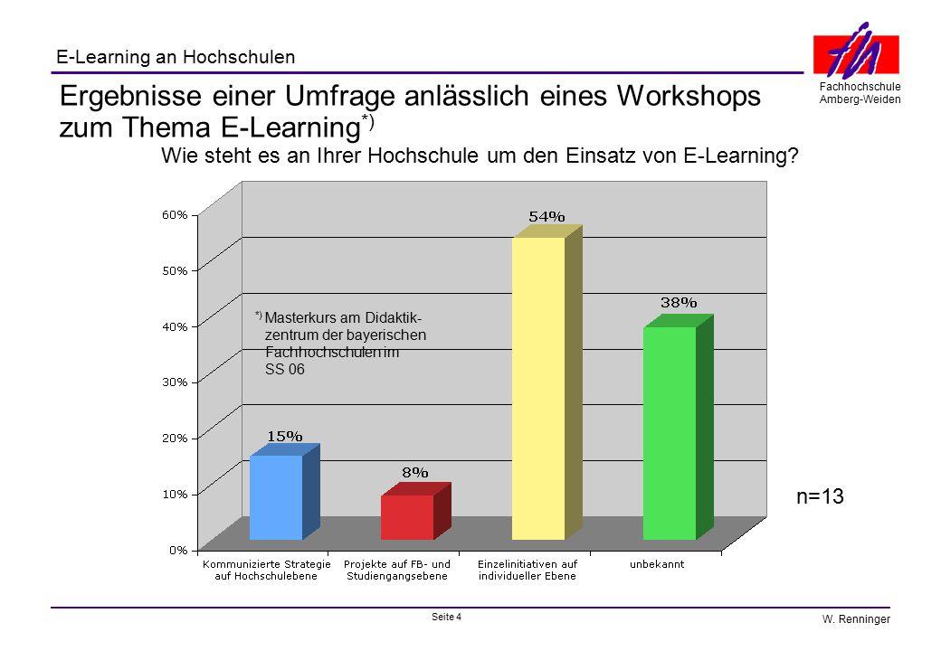 Seite 4 Fachhochschule Amberg-Weiden E-Learning an Hochschulen W. Renninger Ergebnisse einer Umfrage anlässlich eines Workshops zum Thema E-Learning *