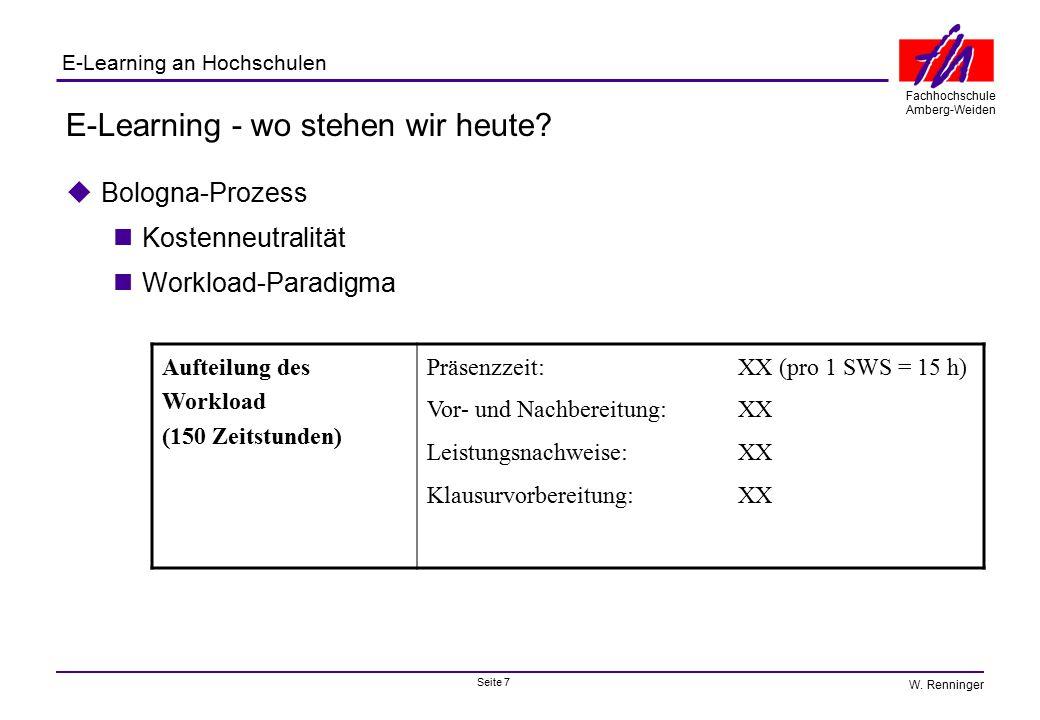Seite 7 Fachhochschule Amberg-Weiden E-Learning an Hochschulen W. Renninger E-Learning - wo stehen wir heute?  Bologna-Prozess Kostenneutralität Work