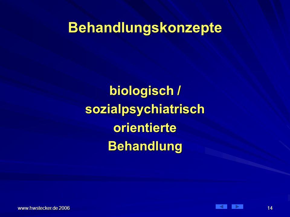www.hwstecker.de 2006 14 Behandlungskonzepte biologisch / sozialpsychiatrischorientierteBehandlung