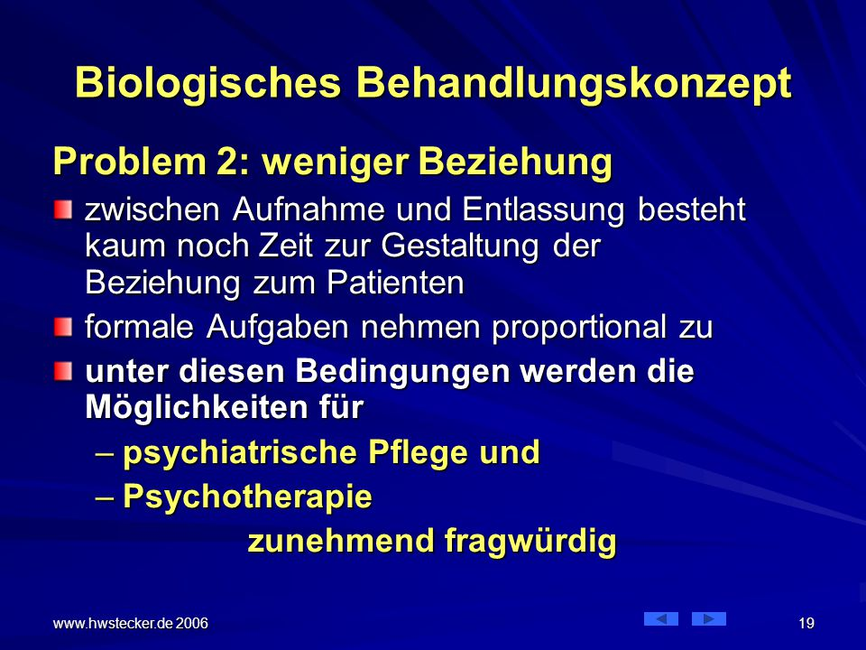 www.hwstecker.de 2006 19 Biologisches Behandlungskonzept Problem 2: weniger Beziehung zwischen Aufnahme und Entlassung besteht kaum noch Zeit zur Gestaltung der Beziehung zum Patienten formale Aufgaben nehmen proportional zu unter diesen Bedingungen werden die Möglichkeiten für –psychiatrische Pflege und –Psychotherapie zunehmend fragwürdig