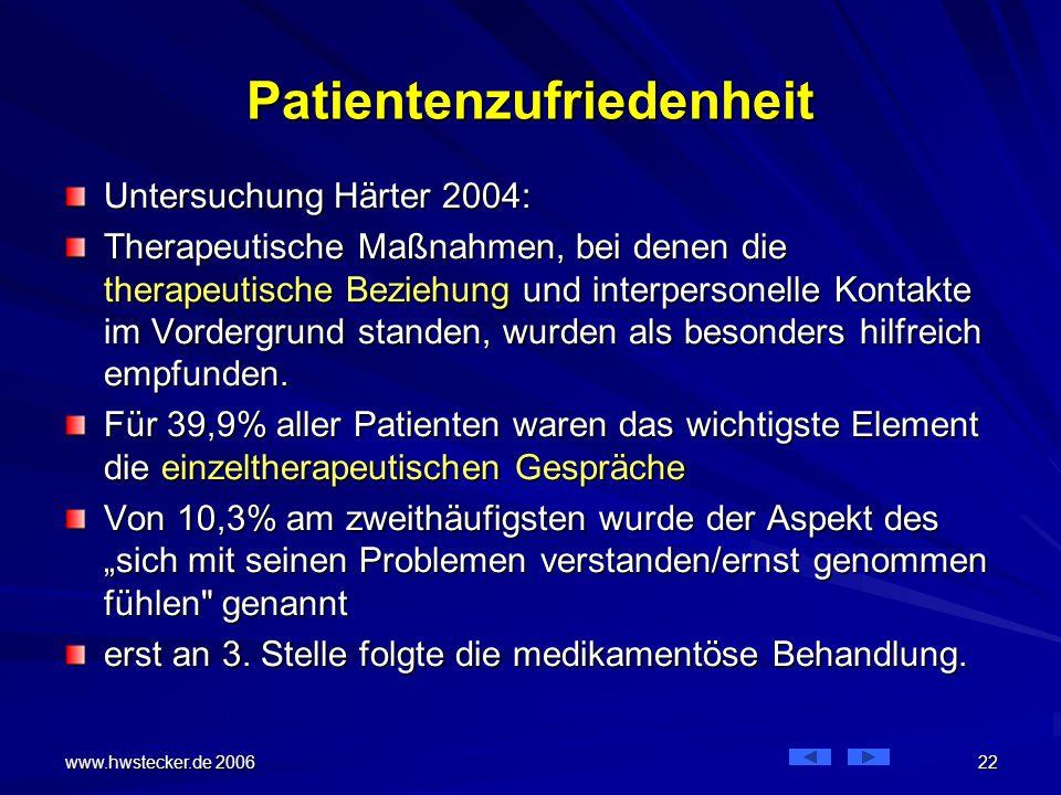 www.hwstecker.de 2006 22 Patientenzufriedenheit Untersuchung Härter 2004: Therapeutische Maßnahmen, bei denen die therapeutische Beziehung und interpersonelle Kontakte im Vordergrund standen, wurden als besonders hilfreich empfunden.