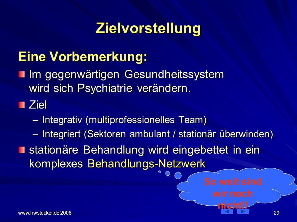 www.hwstecker.de 2006 29 Zielvorstellung Eine Vorbemerkung: Im gegenwärtigen Gesundheitssystem wird sich Psychiatrie verändern.